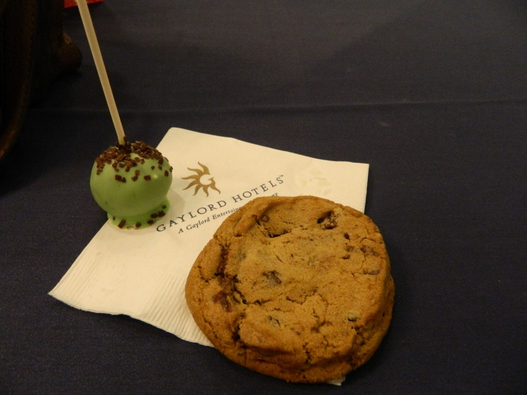Chocolate chip cookie and Shrek-inspired cake pop. Yes, that cookie is really as thick as it looks. There was ogre-colored milk to go along with it (it was family day, after all).