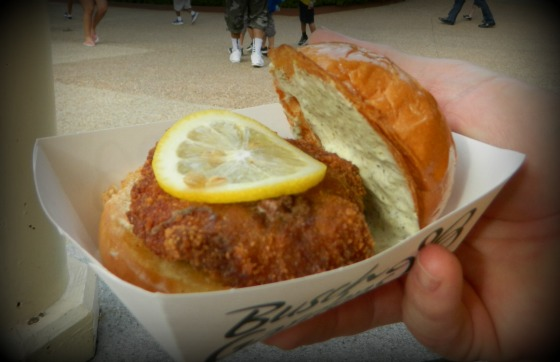 Austria: Schnitzelwich - Pork schnitzel slider with sliced lemon and caper sauce.