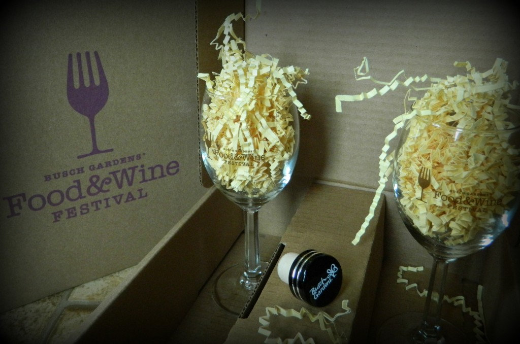 Busch Gardens' Food & Wine Festival wine glasses and bottle topper.