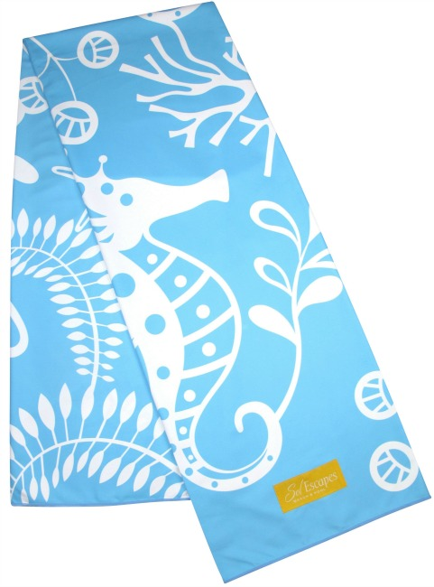 Fun seahorse print on SolEscape travel towel. Photo: PR Newswire/SolEscapes