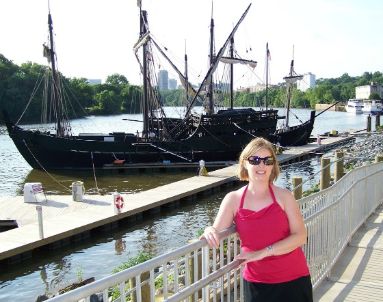 Dressed up in front of Pinta and Nina replicas on the James River - Richmond, Virginia.