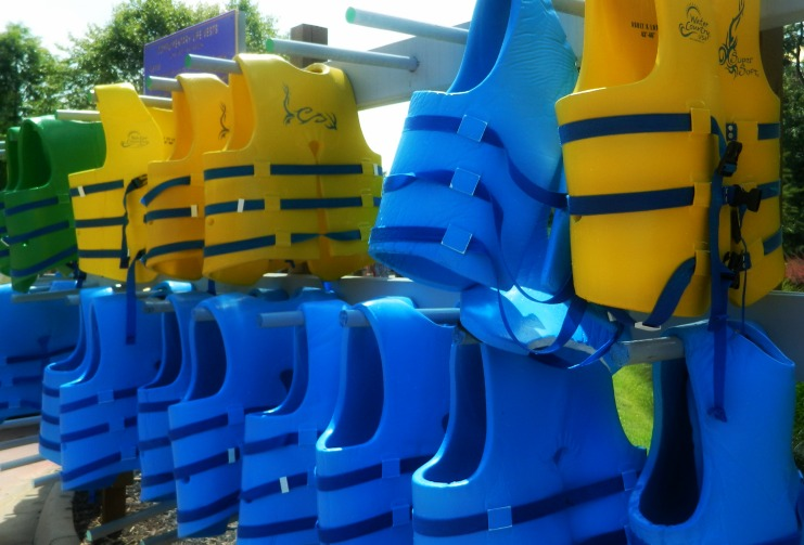 Lots of life vests are available at the park.