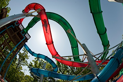 A tangle of slippery slides. Photo: Water Country U.S.A.