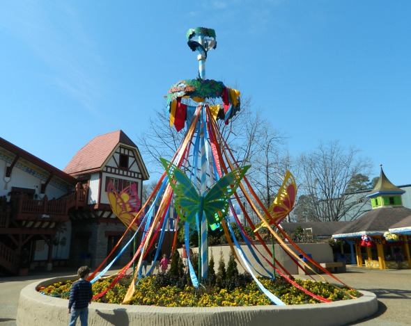 Butterflies and blooms around the Maypole in the Oktoberfest area.