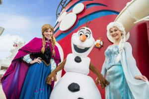 Anna, Elsa, and Olaf are ready to meet-n-greet guests aboard Disney Cruise Lines. Photo: Matt Stroshane