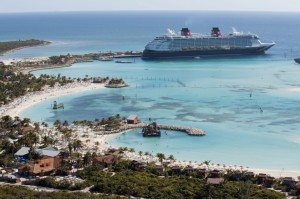 Disney Cruise Liner at Castaway Cay in the Bahamas. Photo: David Roark