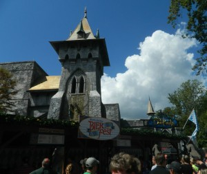 Dar Kastle looms behind the Bier Fest kiosk.