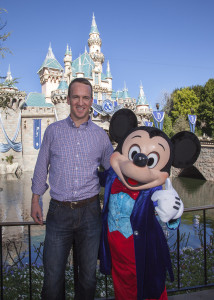(February 8, 2016) Mickey Mouse greets Denver Broncos quarterback Peyton Manning at Sleeping Beauty Castle at Disneyland park in Anaheim, Calif., on Monday. In honor of the Denver Broncos' unforgettable victory at Super Bowl 50, the Disneyland Resort saluted Manning with a champion's parade down Main Street, U.S.A. (Scott Brinegar/Disneyland)
