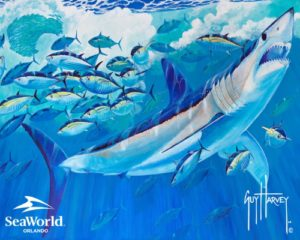 SeaWorld Parks & Entertainment (SEA) and world-renowned marine artist and conservationist Guy Harvey today announced a new partnership focused on ocean health and the plight of sharks in the wild. The two organizations will partner to raise awareness of these important issues, and collaborate on science and research to increase understanding of how to better protect these critical predators and their habitats. (PRNewsFoto/SeaWorld Parks & Entertainment)