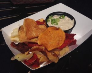 Root vegetable chips and dip