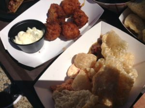 Pork rinds with dips and hush puppies
